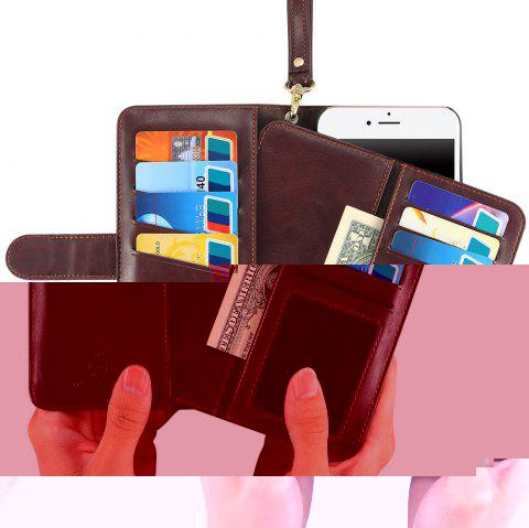 Flip Wallet Case With Hand Strap - BROWN FOR IPHONE 6 / 6S