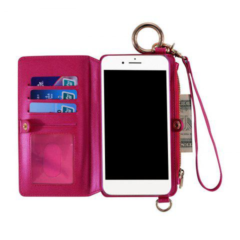 Multifunction Card Slot Faux Leather Flip Wallet Case pour iPhone - Rose Rouge FOR IPHONE 6 PLUS / 6S PLUS