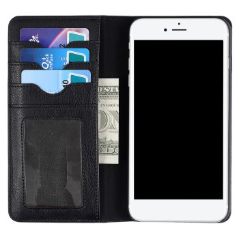Flip Faux Leather Wallet with Card Slot Case For iPhone - BLACK BLACK