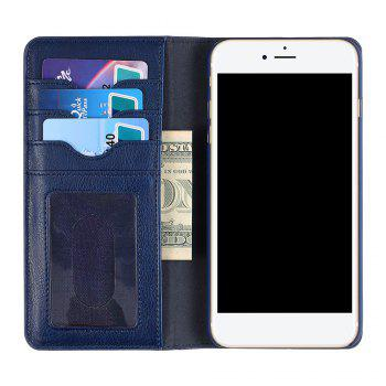 Flip Faux Leather Wallet with Card Slot Case For iPhone - DEEP BLUE DEEP BLUE