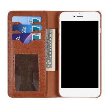 Flip Faux Leather Wallet with Card Slot Case For iPhone - BROWN FOR IPHONE 6 / 6S