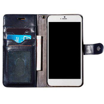 Faux Leather Card Slot Flip Wallet Case For iPhone - DEEP BLUE FOR IPHONE 7 PLUS