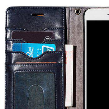 Faux Leather Card Slot Flip Wallet Case For iPhone - DEEP BLUE FOR IPHONE 7