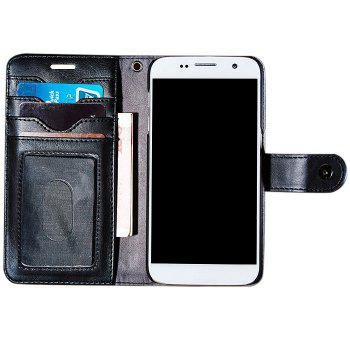 Faux Leather Card Slot Flip Wallet Case For iPhone - BLACK BLACK