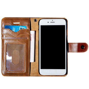Faux Leather Card Slot Flip Wallet Case For iPhone - BROWN BROWN