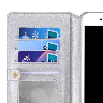 Multifounction Card Slot Faux Leather Flip Wallet Case For iPhone - SILVER SILVER