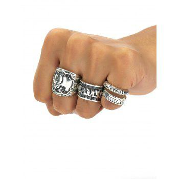 A Set of Classic Retro Style Carving Pattern Women's Rings