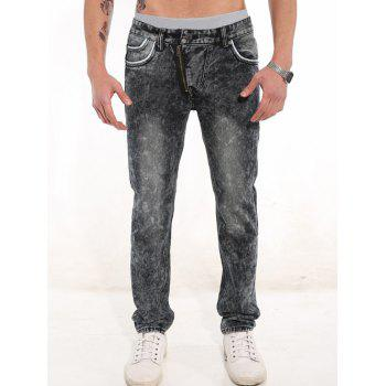 Casual Trimmed Pocket Zippered Jeans
