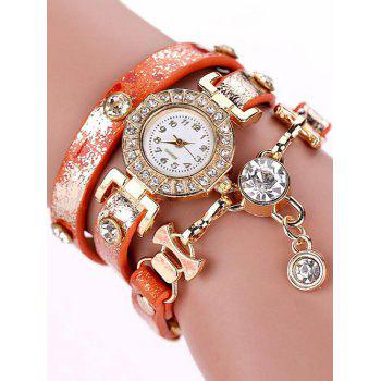 Layered Rhinestone Wrap Bracelet Watch