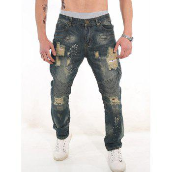 Rib Panel Zipper Fly Ripped Jeans