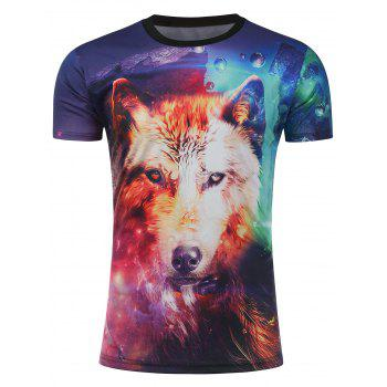 3D Galaxy Fox Print Short Sleeve T-Shirt