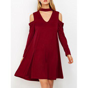 Cold Shoulder Choker Swing Dress