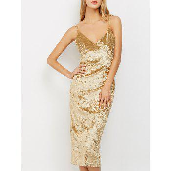 Crushed Velvet Cami Midi Pencil Dress