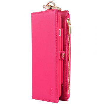 Flip Wallet Phone Case With Card Slot - ROSE RED FOR SAMSUNG S6