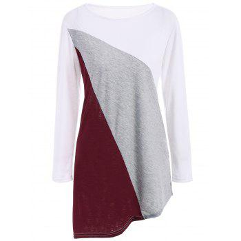 Color Block Asymmetric Tunic Tee