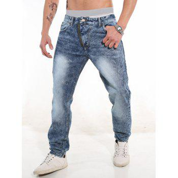 Casual Trimmed Pocket Zippered Jeans - DEEP BLUE 30