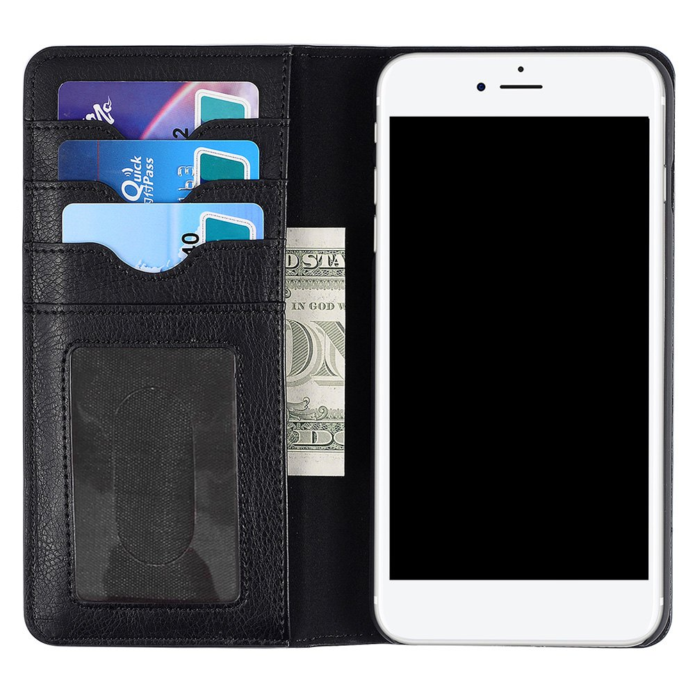 Flip Faux Leather Wallet with Card Slot Case For iPhone - BLACK FOR IPHONE 7