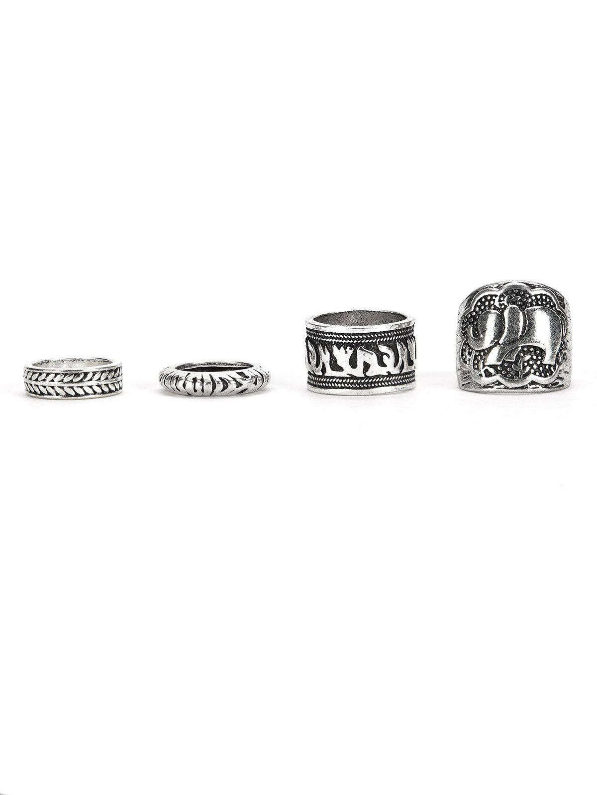 A Set of Classic Retro Style Carving Pattern Women's Rings - SILVER ONE-SIZE