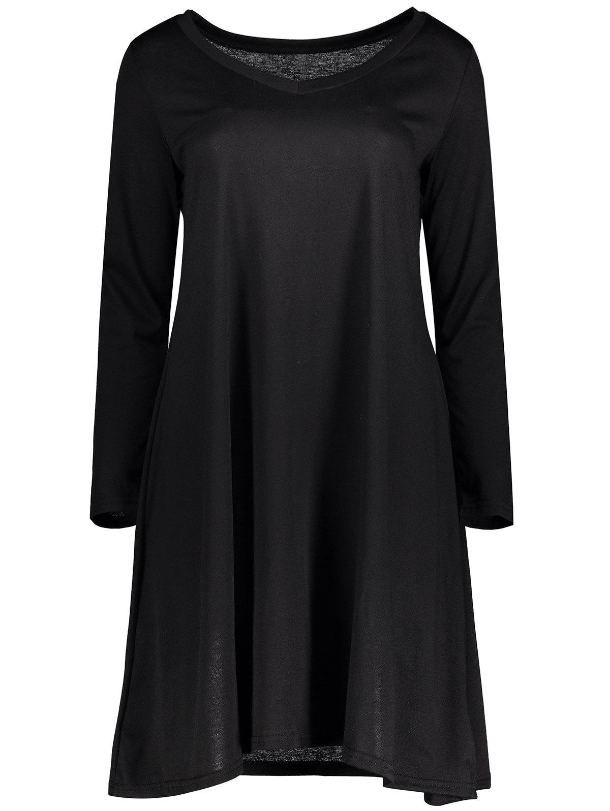 V Neck Long Sleeve Swing Dress - BLACK XL