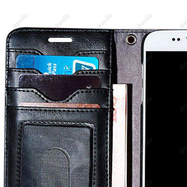 Faux Leather Card Slot Flip Wallet Case For iPhone - BLACK FOR IPHONE 7 PLUS