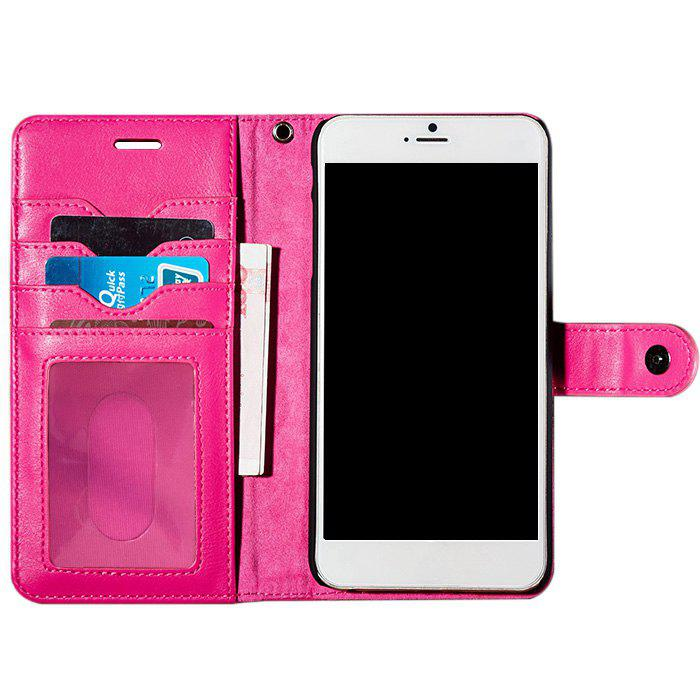 Etui-Portefeuille avec Compartiment pour Cartes en Simili Cuir pour iPhone - Rose Rouge FOR IPHONE 7 PLUS