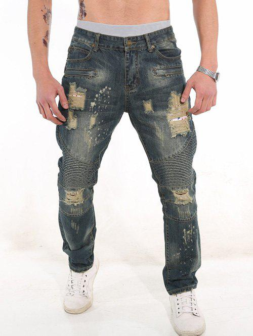 Rib Panel Zipper Fly Ripped Jeans 207865201