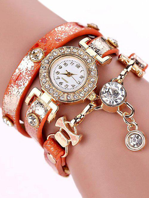 Layered Rhinestone Wrap Bracelet Watch - ORANGE RED