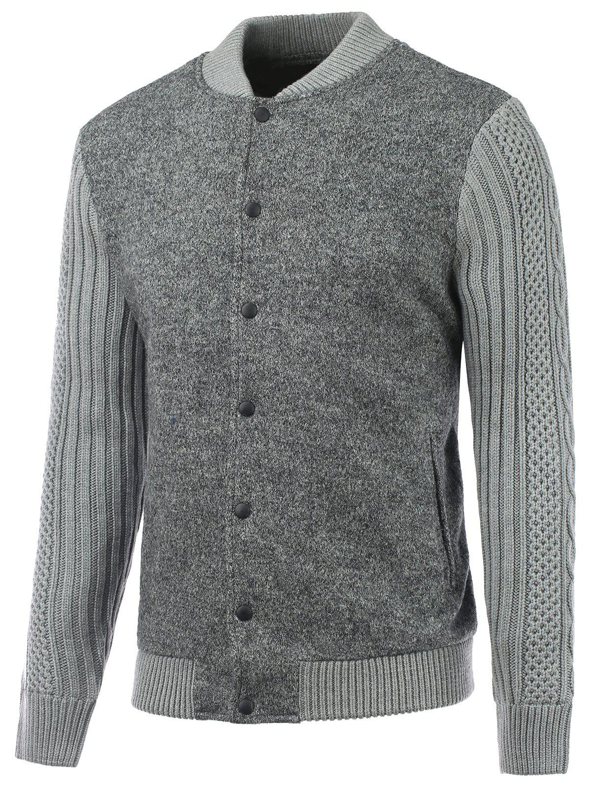 Button Up Panel Knitted JacketMen<br><br><br>Size: S<br>Color: GRAY