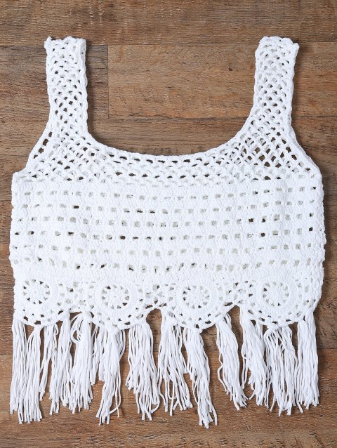 Fringed Cut Out Women's Tank Top - WHITE ONE SIZE(FIT SIZE XS TO M)