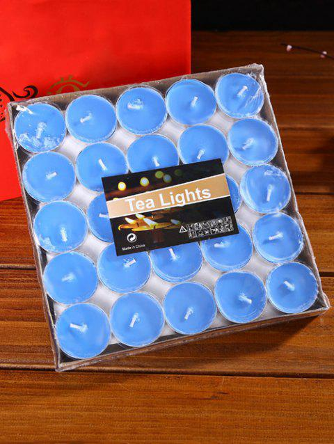 50PCS Unscented Smokeless Romantic Holiday Gift Wrapped Candles - BLUE