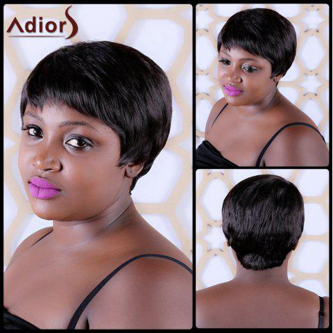 Skilful Short Straight Full Bang Synthetic Capless Wig - BLACK BROWN