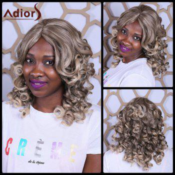 Adiors Long Big Wave Fluffy Side Bang Heat Resistant Synthetic Wig