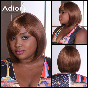 Adiors Short Straight Side Bang Mixed Bob Synthetic Wig - BROWN BROWN