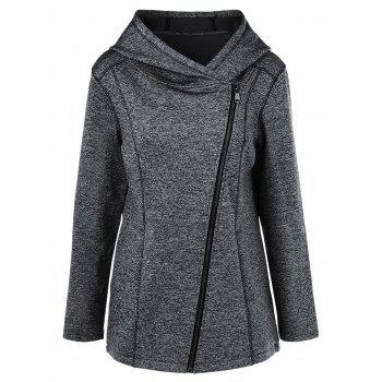 Heather Inclined Zipper Hoodie
