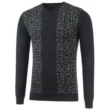 V Neck Ribbed Knitted Leopard Jumper