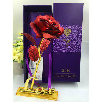Forever Love Long Stem Dipped Gold Foil Rose in Gift Box with Stand - RED