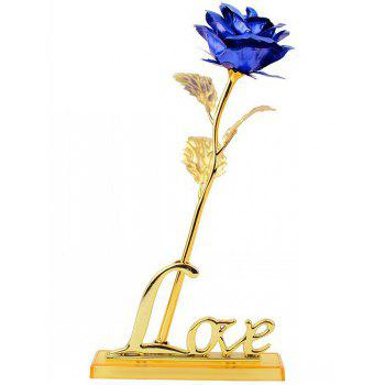 Forever Love Long Stem Dipped Gold Foil Rose in Gift Box with Stand