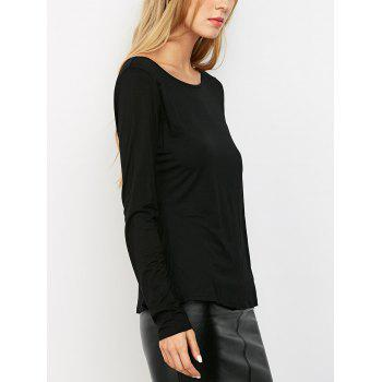 Solid Low Back T-Shirt - BLACK XS