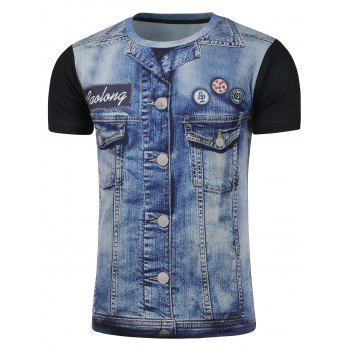 Denim Print Short Sleeve Tee