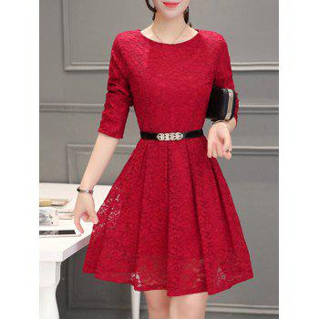 Long Sleeve Mini Flare Lace Dress