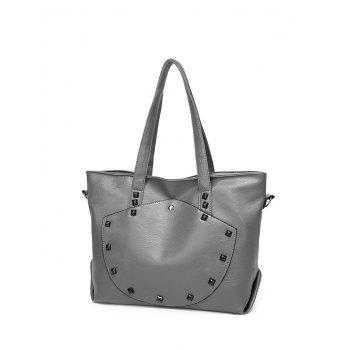 PU Leather Studded Shoulder Bag