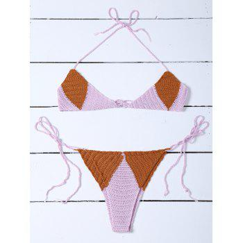Color Block Knitted String Bikini