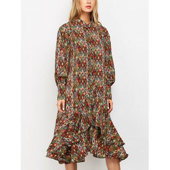 Vintage Printed Ruffles Chiffon Dress