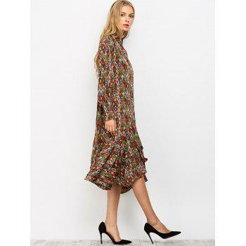 Vintage Printed Ruffles Chiffon Dress - COLORMIX S