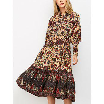 Vintage Lantern Sleeve Floral Print Midi Dress