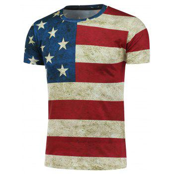 Crew Neck Short Sleeve Distressed American Flag Print T-Shirt