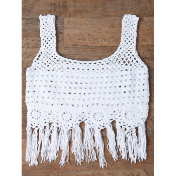 Fringed Cut Out Women's Tank Top - WHITE WHITE