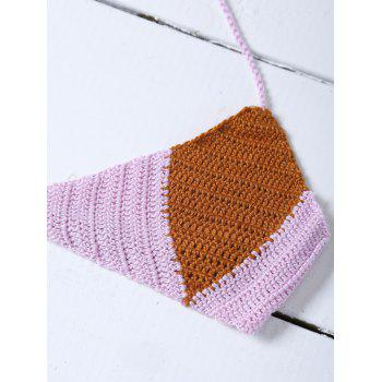 Color Block Knitted String Bikini - PINK ONE SIZE