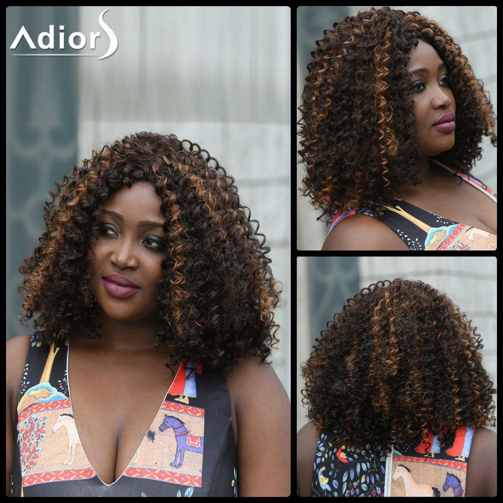 Adiors Short Highlight Afro Kinky Curly Synthetic Wig - COLORMIX