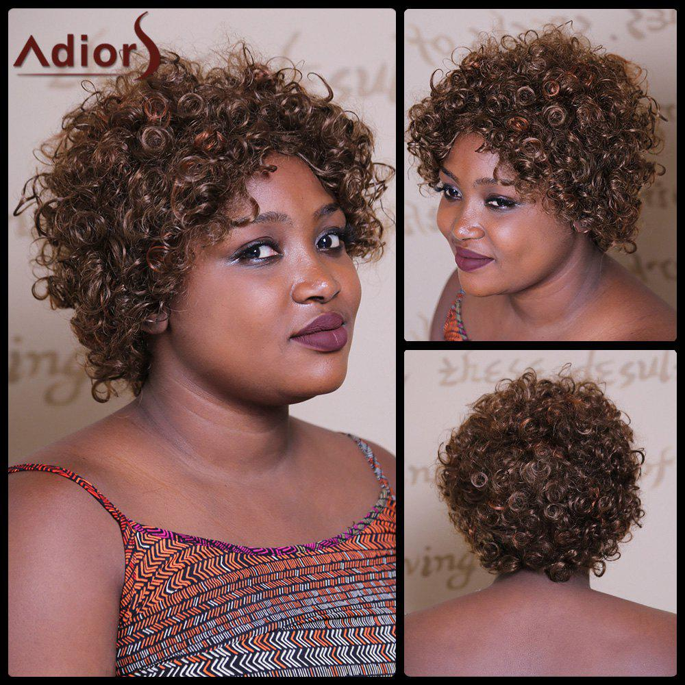 Capless perruque synthétique Brown Trendy mixte court Afro Curly Fluffy Spiffy femmes - multicolorcolore